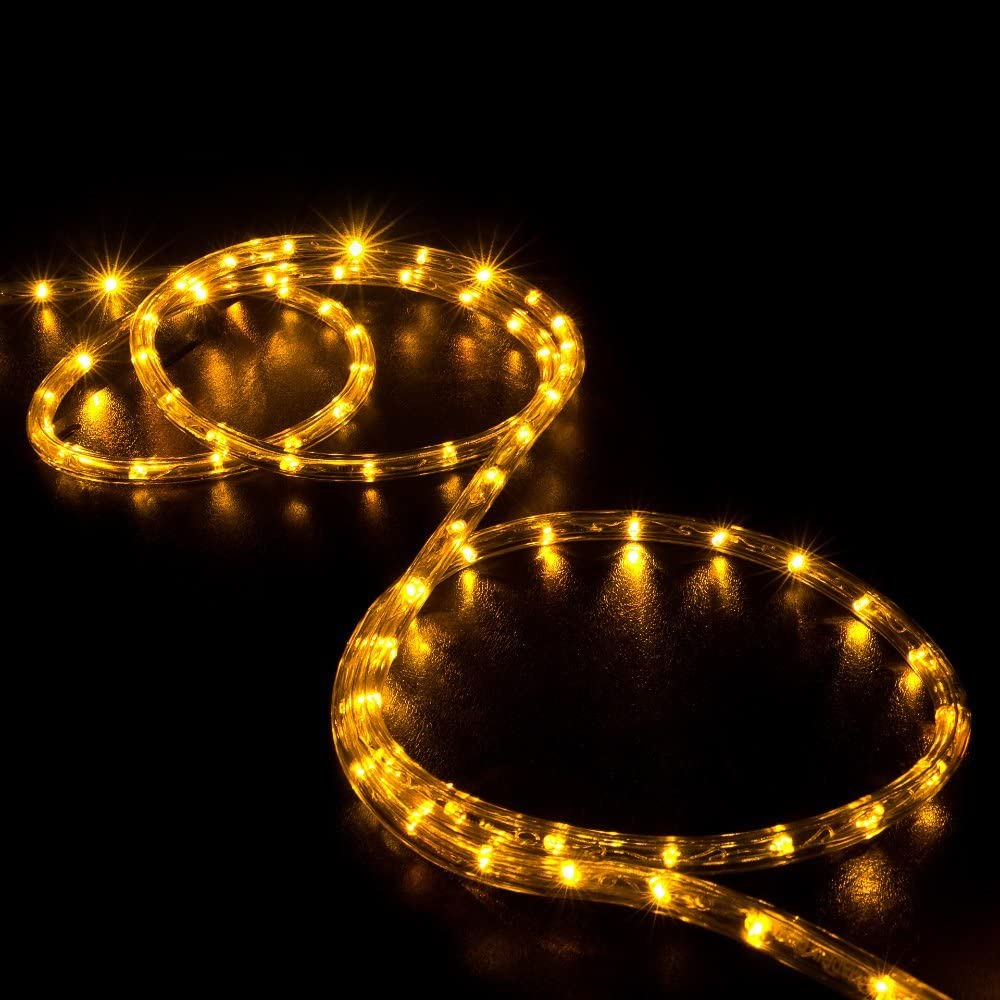 WYZworks 20' feet Orange/Amber LED Rope Lights - Flexible 2 Wire Accent Holiday Christmas Party Decoration Lighting | UL Certified