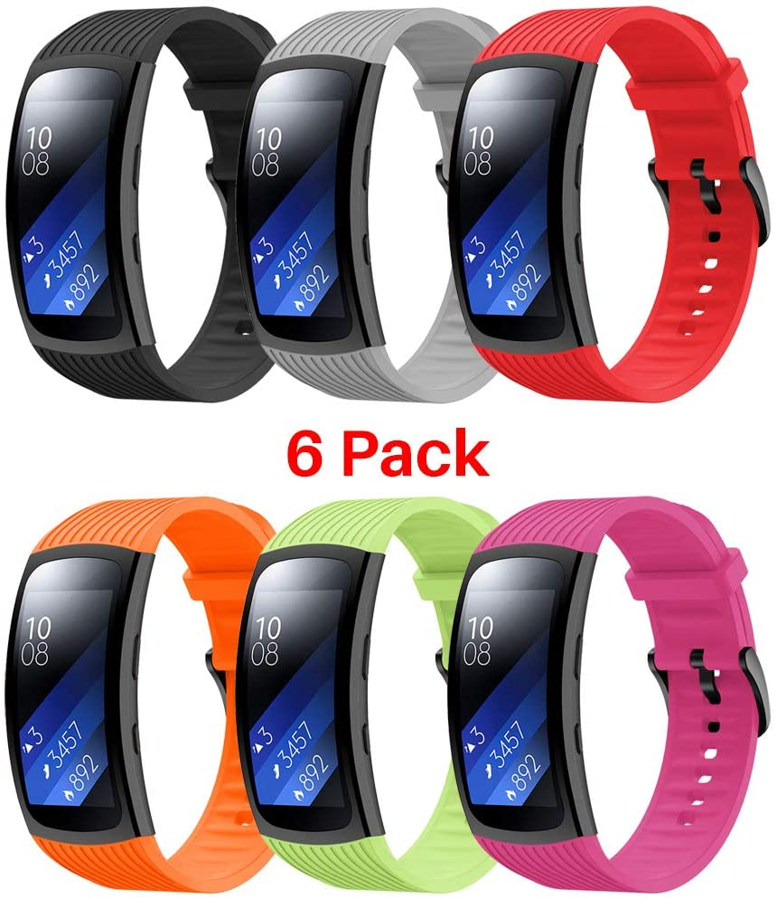Junboer Compatible with Samsung Gear Fit 2/ Gear Fit2 Pro Watch Band, Durable and Soft Silicone Replacement Strap Sport Wristband for Gear Fit 2/ Fit2 Pro Smartwatches