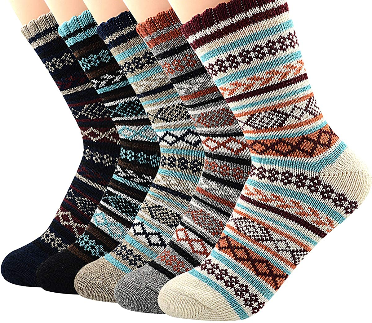 Century Star Womens Vintage Winter Soft Wool Warm Comfort Cozy Crew Socks 5 Pack