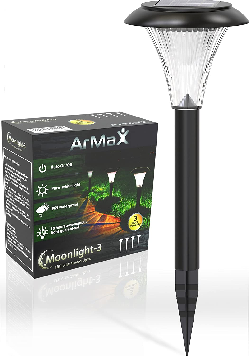 ArMax Solar Pathway Lights Outdoor V2.0 - for Garden Yard Lawn Path Walkway Driveway Sidewalk Outside - Landscape Lighting - Bright Cool White LED - Stake Light - Up to 25HR - 4 PCS - Waterproof