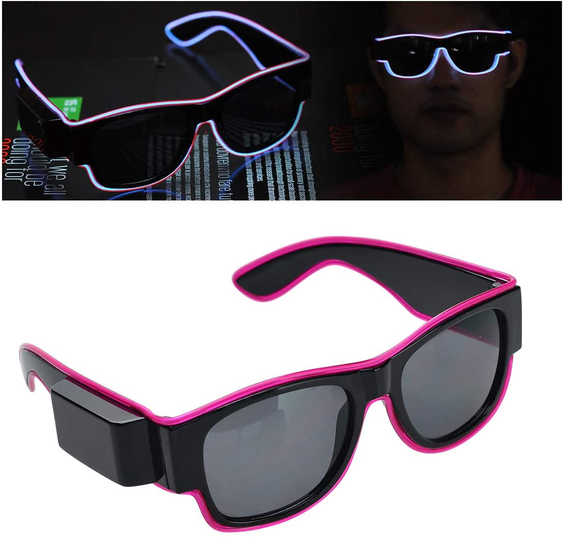 Glowing Goggles EL Wire Decoration Glasses Halloween Decoration with USB Rechargebattery for Fashionshow Party Cosplay Lights. (Purple)