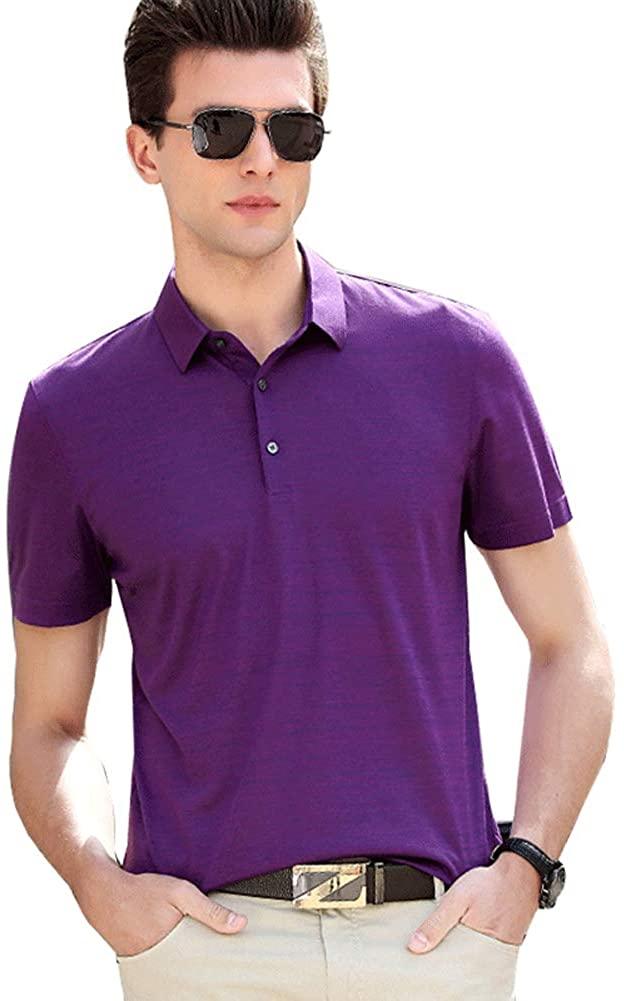 Fazeya Silk Men's Short-Sleeved Lapel Polo Shirt ice Silk Cotton T-Shirt