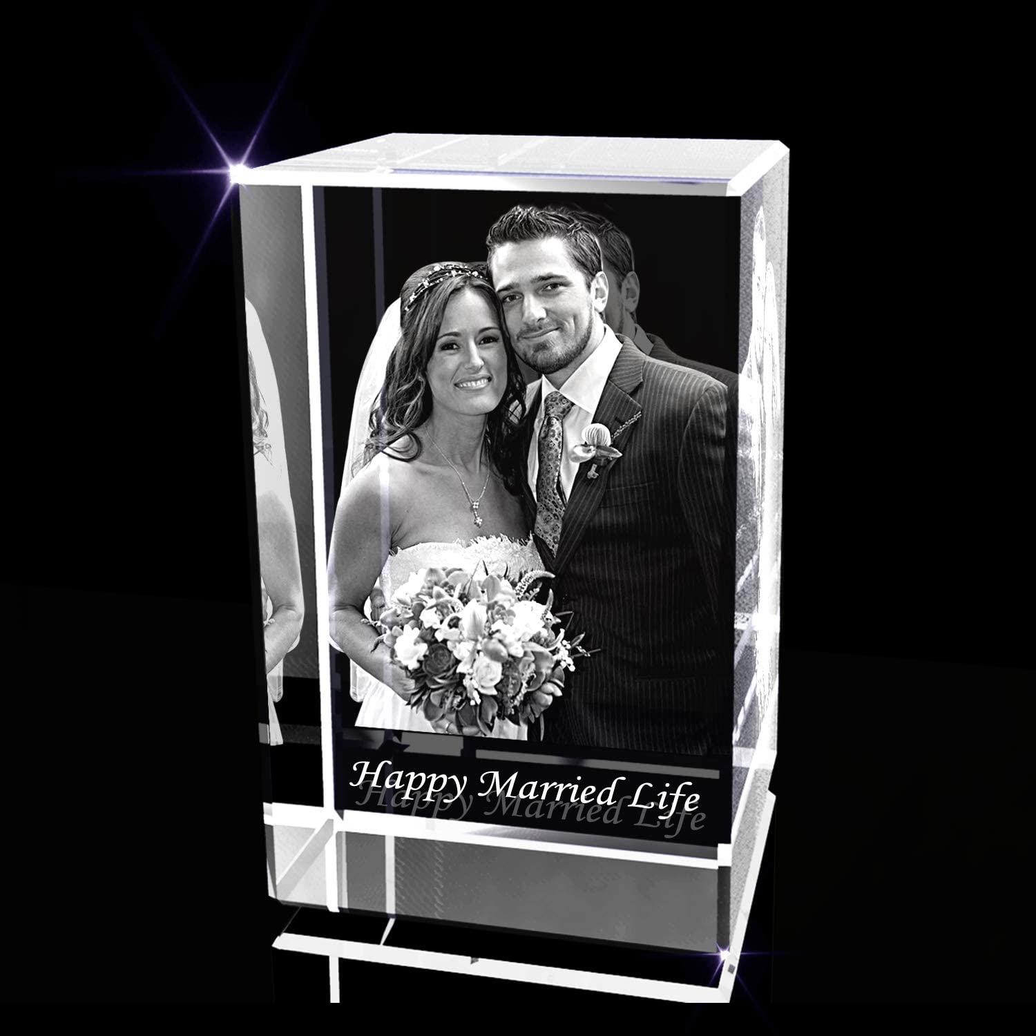Personalized Anniversary 3D Engraved Crystal Photo Gift (XXL rectangle)