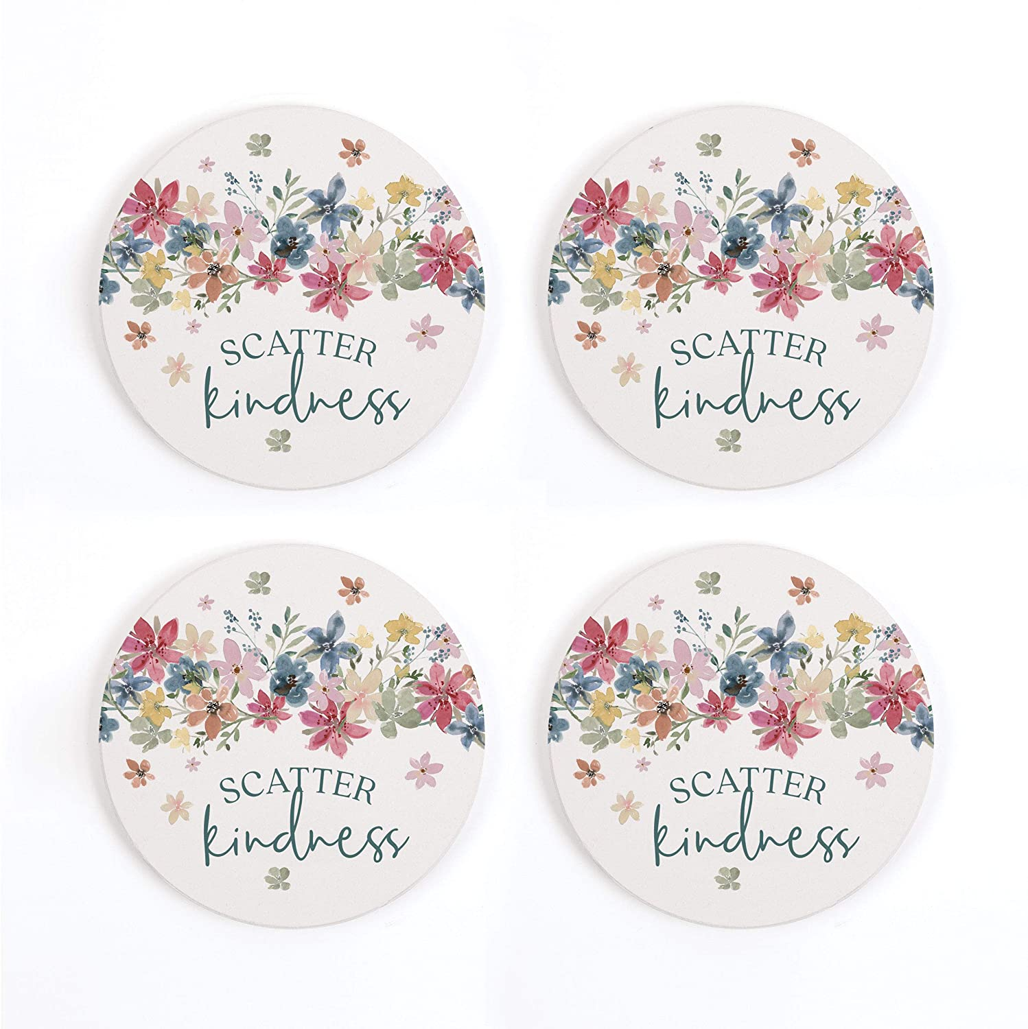 Scatter Kindness Floral Pink 4 x 4 Absorbent Ceramic Round Coasters Pack of 4