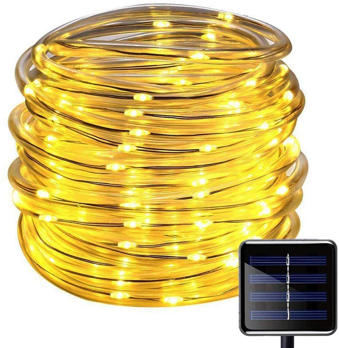 picK-me Solar Rope Lights, 200 LEDs 66ft/20M 2Modes Waterproof Solar String Copper Wire Light, Outdoor Rope Lights for Garden Yard Path Fence Tree Wedding Party Decorative (8 Modes, Warm White)
