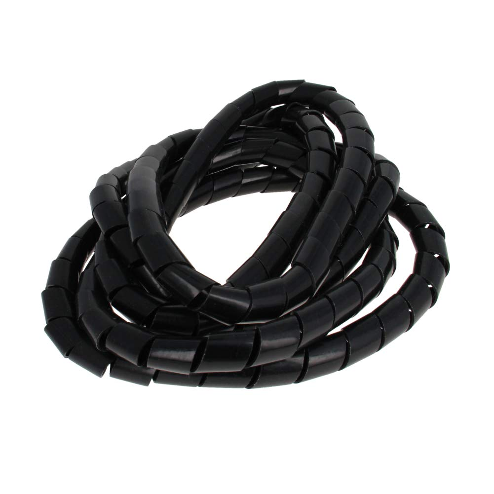 Othmro 3.5-4m Coiled Tube Sleeve-Black 18mm Dia Spiral Cable Organizer PE 3.5-4M Length Cord Cable Sleeves Spiral Wire Management Plastic Cord Wrap 1PCS Good for Home Office