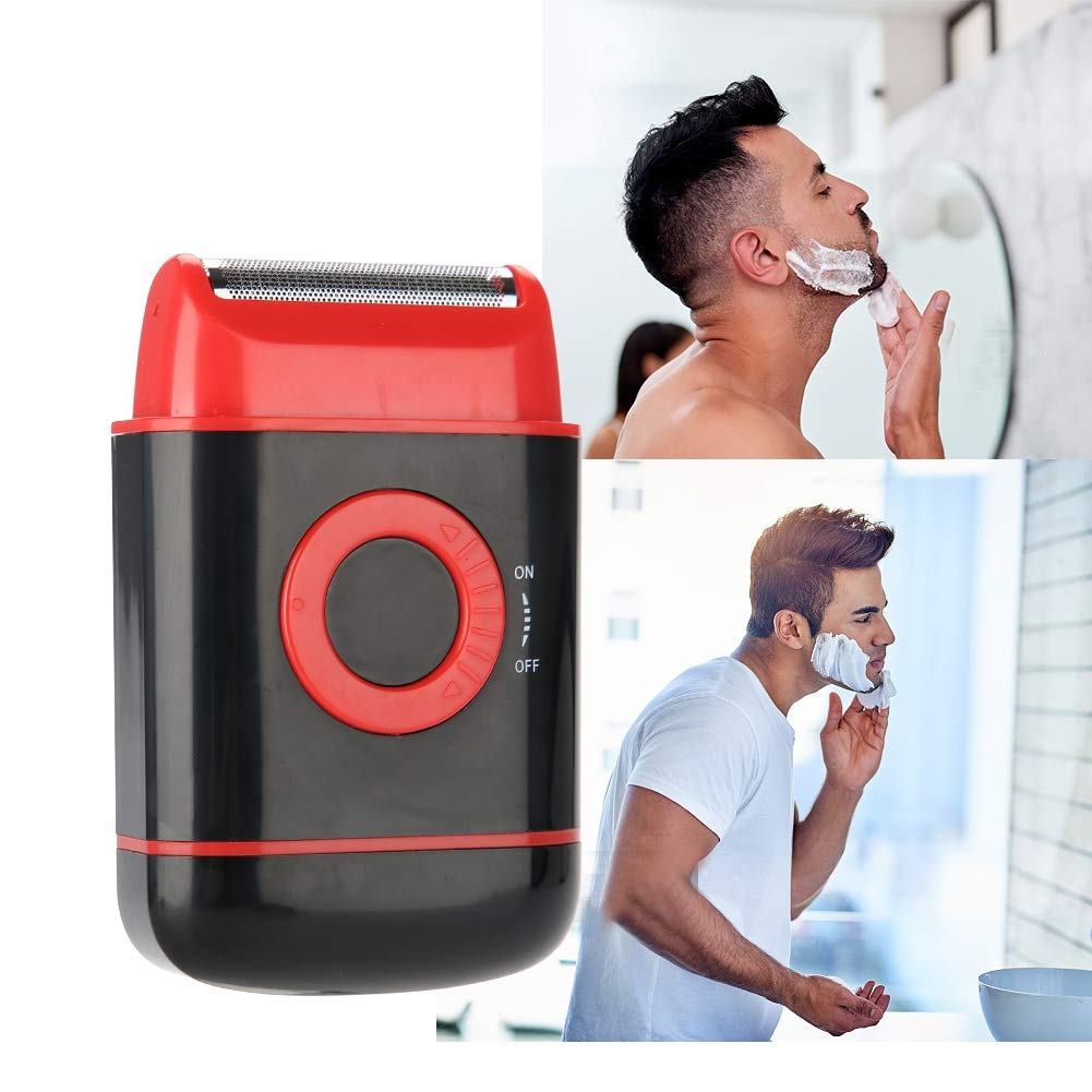 Electric Shaver, Ultra-thin Foil Pop-up Beard Trimmer AA Battery Power Shaving Razor for Men(Red)