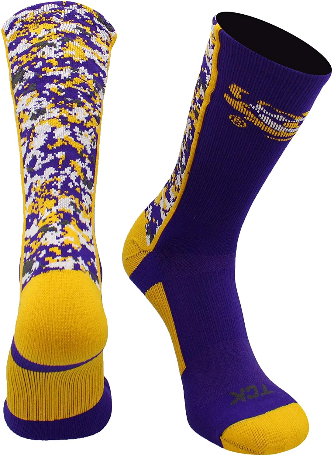 TCK LSU Tigers Digital Camo Crew Socks