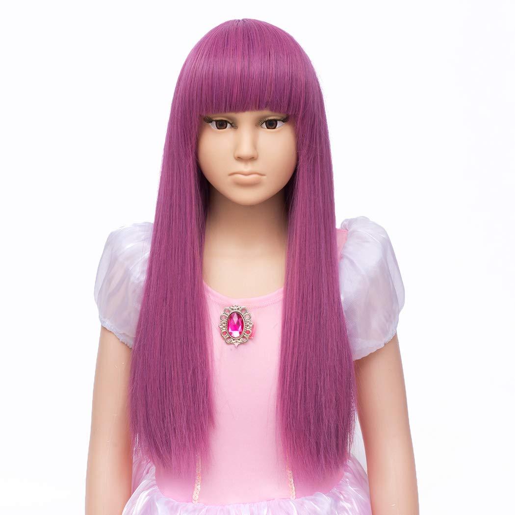 TANTAKO Kids Girl Purple Costume Wigs Long Straight Purple Cosplay Wigs Halloween Costume Kids Wig (Straight Pink#0284)