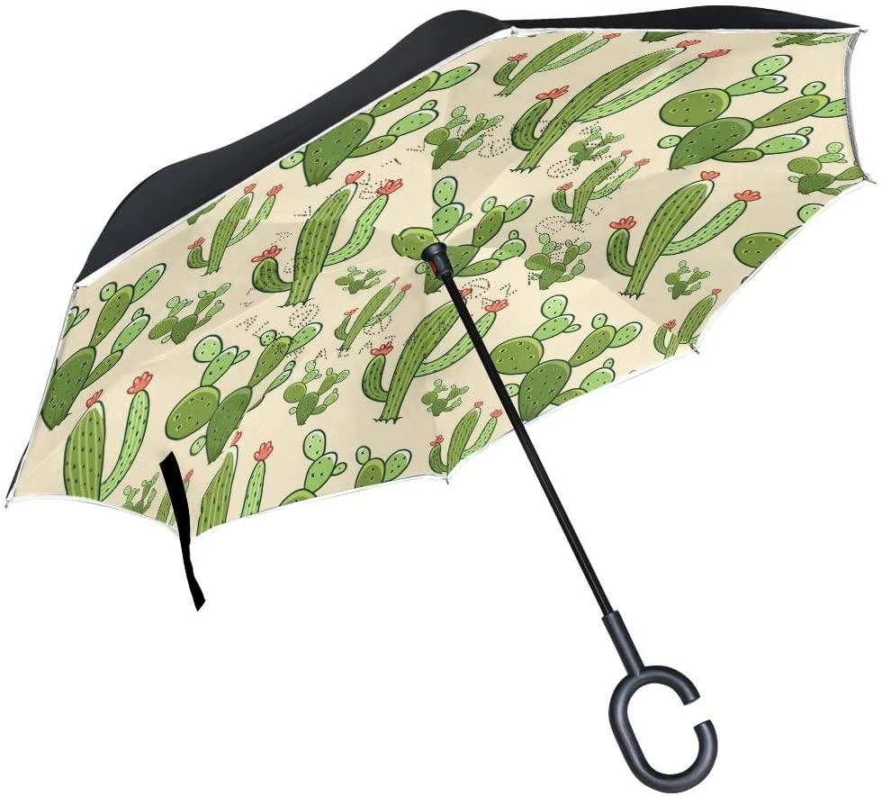 OREZI Cartoon Cactus Reverse Umbrella Double Layer Windproof Waterproof Golf Umbrella for Car & Rain Outdoor Self-Standing C-Shape Umbrella for Woman Man