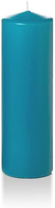Yummi 2.25 x 7 Turquoise Slim Round Pillar Candles - 4 per Pack