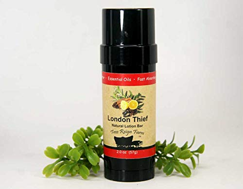Natural Shea Butter Body Lotion Stick with Coconut Oil and Beeswax, in a 2 oz. Solid Lotion Bar (London Thief Lotion 2)
