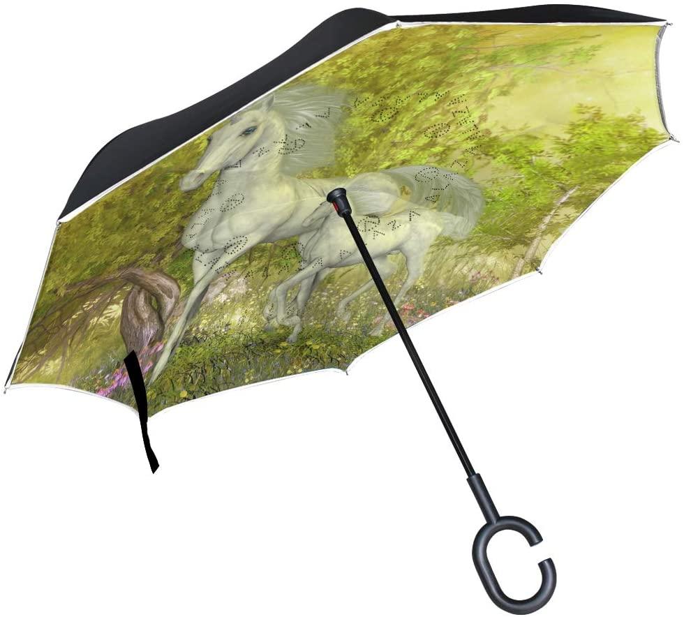 OREZI Unicorns in Glen Reverse Umbrella Large Double Layer C-Shaped Handle Folding Umbrella Windproof UV Protection Golf Umbrella for Woman and Men