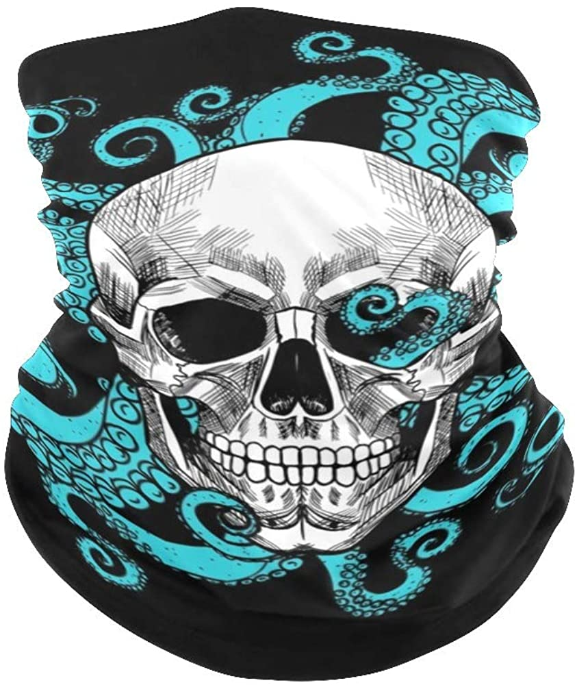 XOZOTY Balaclava Bandanas Face Mask Cover Skull and Octopus Neck Gaiter for Out Doors, Dust, UV Protection