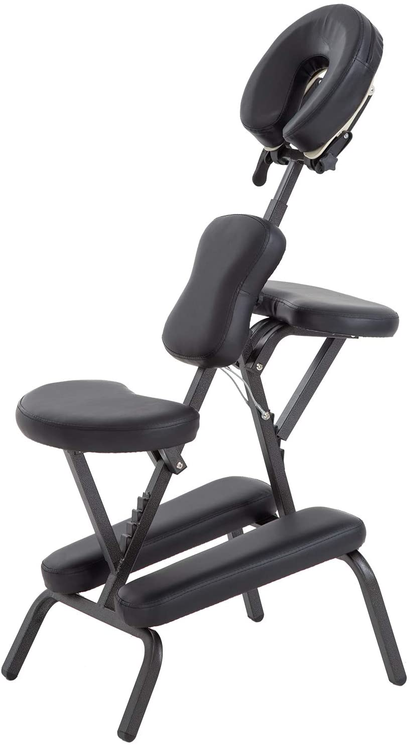 Massage Chair Portable Tattoo Chair Folding Height Adjustable 2 Inch Thick Sponge Light Weight Therapy Chairs Carring Bag Face Cradle Travel Spa Chairs (Black)