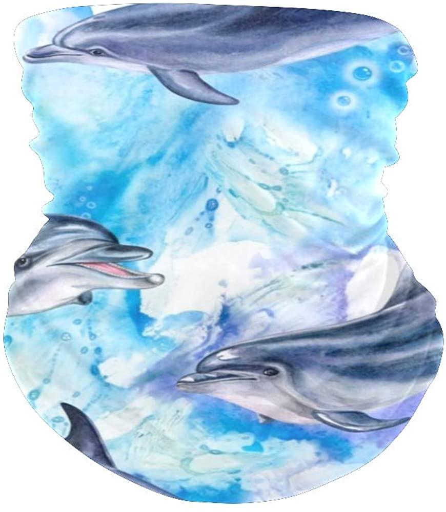 XOZOTY Balaclava Bandanas Face Mask Cover Blue Ocean Dolphin Neck Gaiter for Out Doors, Dust, UV Protection