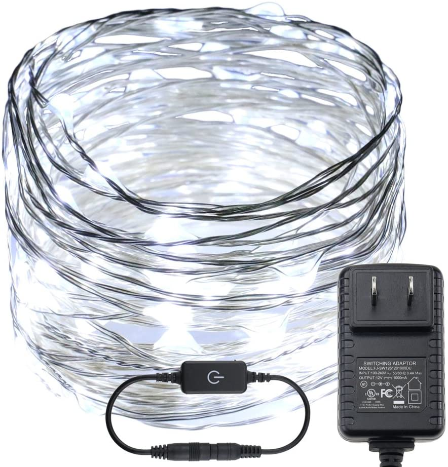 RUICHEN Dimmable LED String Lights, Plug in Touch Control 33FT 100 LEDs Silver Copper Wire Decorative Starry Fairy Lights with UL Adapter for Christmas Bedroom Party Wedding (Cool White)