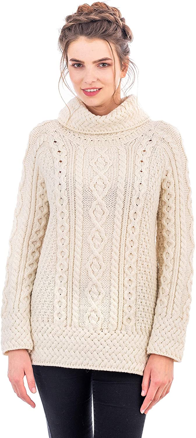 SAOL 100% Merino Wool Ladies Vented Roll Neck/Turtleneck Sweater Pullover Irish Cable Knitted Long Jumper
