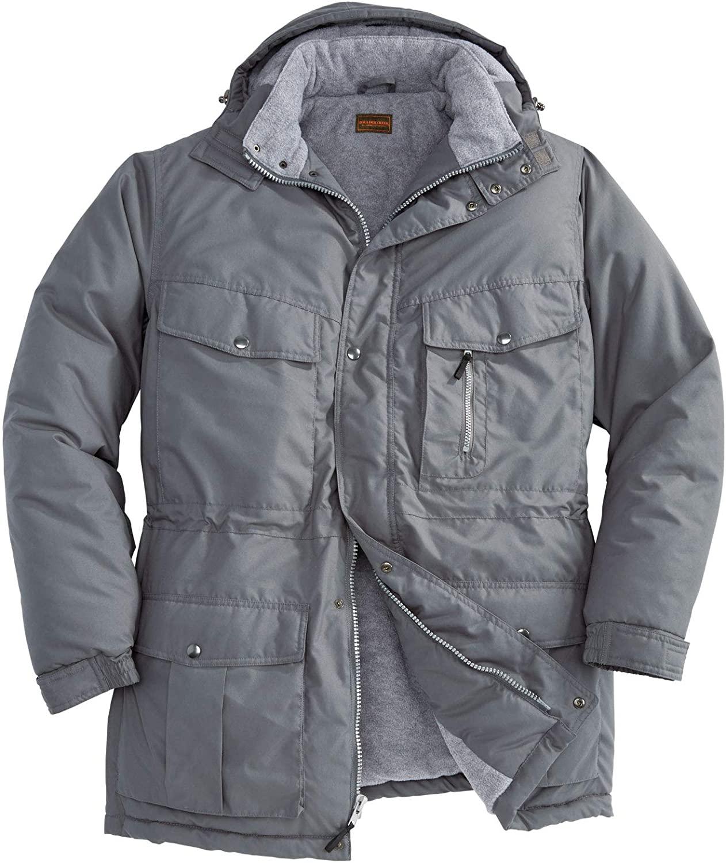 Boulder Creek by Kingsize Men's Big & Tall Fleece-Lined Parka with Detachable Hood and 6 Pockets Coat