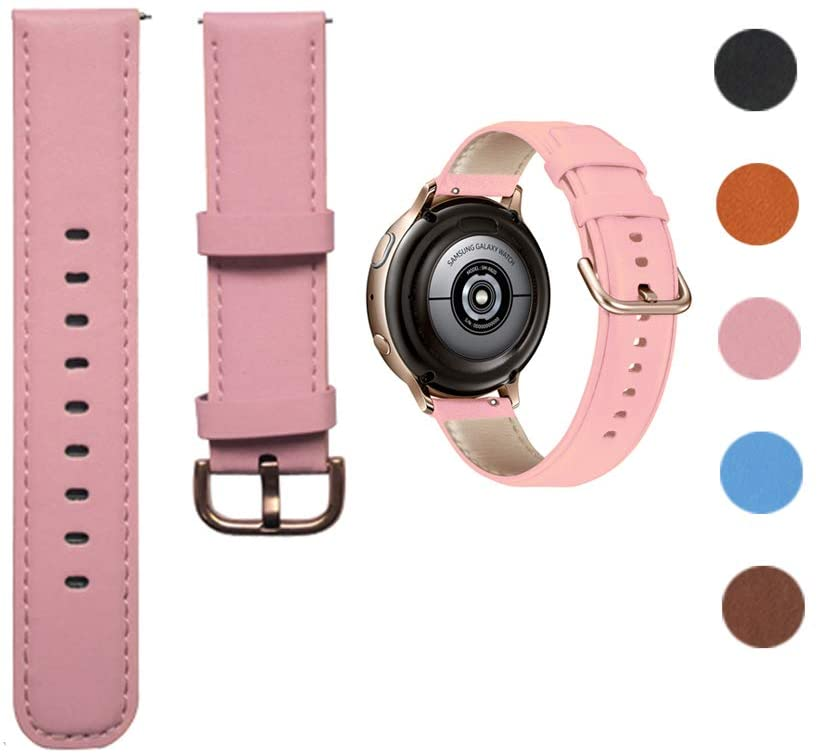Minggo Leather Band Compatible with Samsung Galaxy Watch Active/Active2 40mm/44mm, Genuine Leather Quick Release 20mm Watch Strap Compatible for Samsung Galaxy Watch 42mm Smart Watch (Pink)