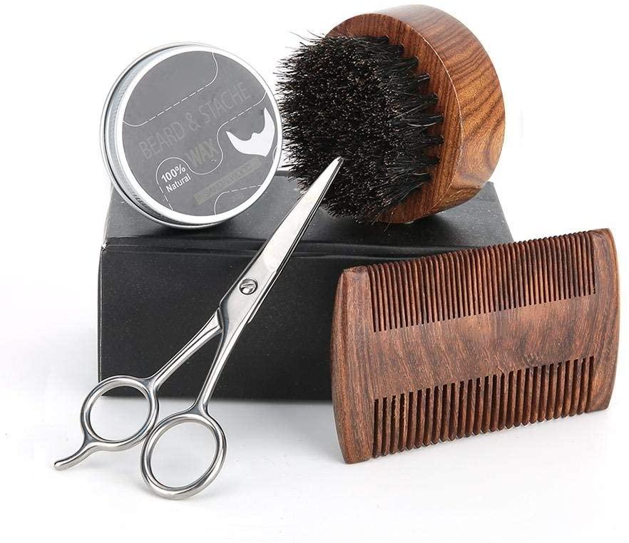 4pcs / set Men Moustache Cream Beard Oil Kit Beard Care Tool with Moustache Comb Brush Prefessional Trimming Shave Tool Trimming scissors(4pcs / set)