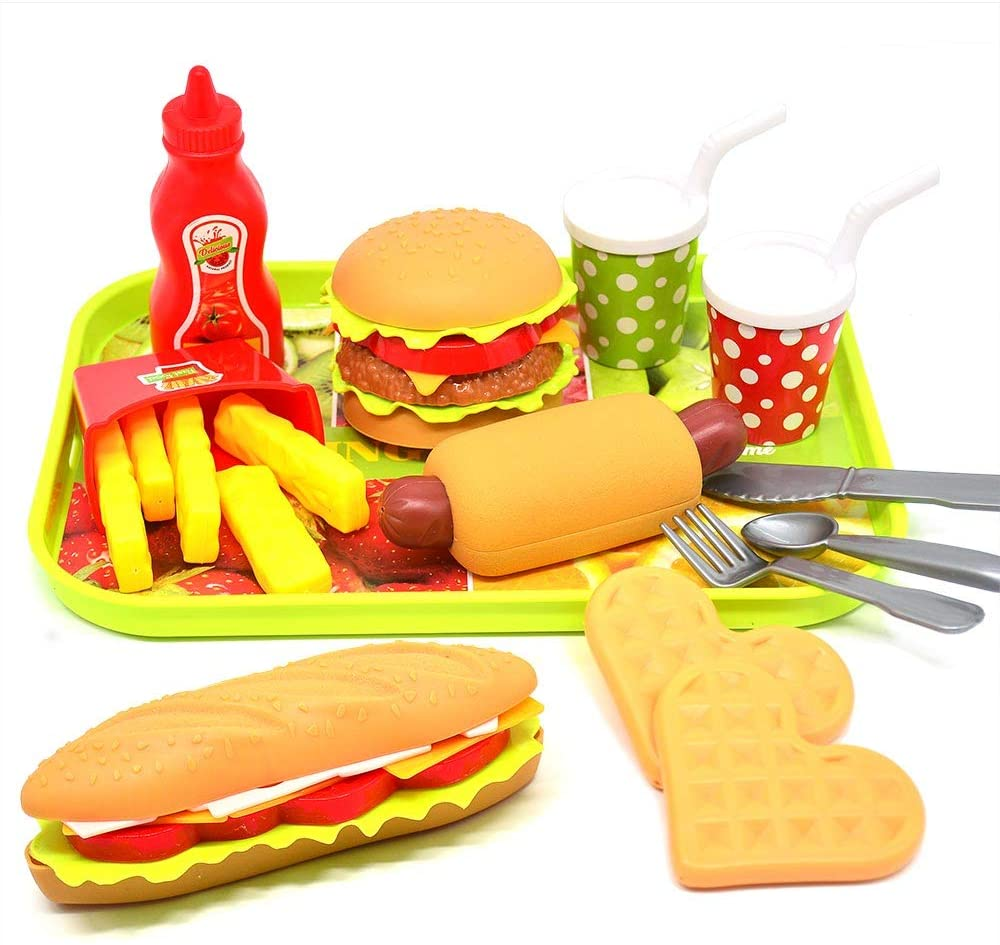 CAILLU Toddler Girls Toys Play Food Pretend Set,Food Green stem Kids Toys Burger,Boys Pretend Play