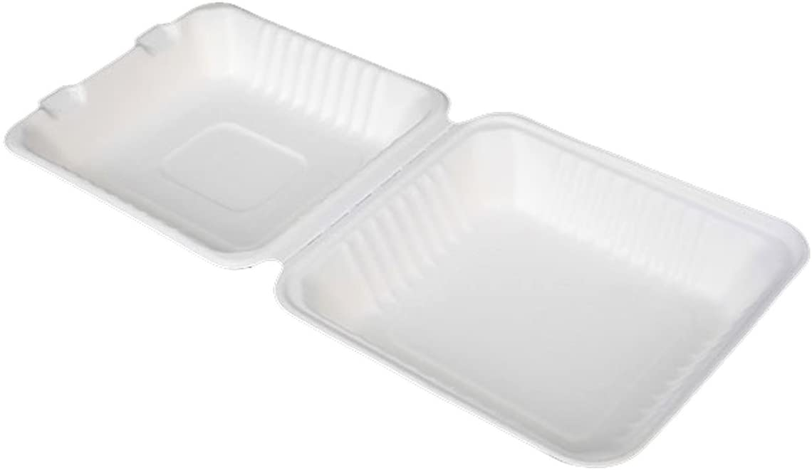 Go-Green Eco-Friendly 100% compostable, Sugarcane Fiber, 8-Inch Hinged Clamshell, 200 Count