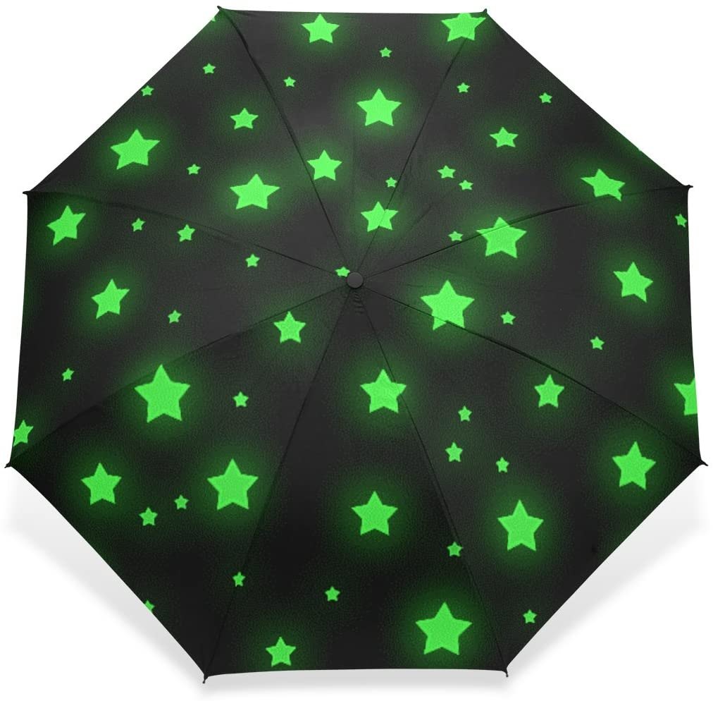 baihuishop Windproof Golf Umbrella, Compact for Travel by Easy Carrying Sports Rain Umbrella - Strong Frame Unbreakable Stars Pattern