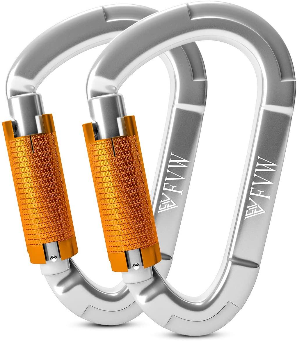 FVW Professional 25KN (5620 lbs) Auto Locking Rock Climbing Carabiner Heavy Duty Locking Carabiner Clips