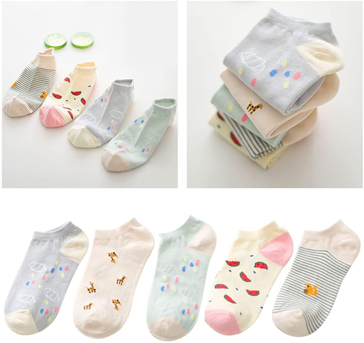 Glamorstar Women Socks Cotton No Show Low Cut Socks Ankle Sock 5 Pack