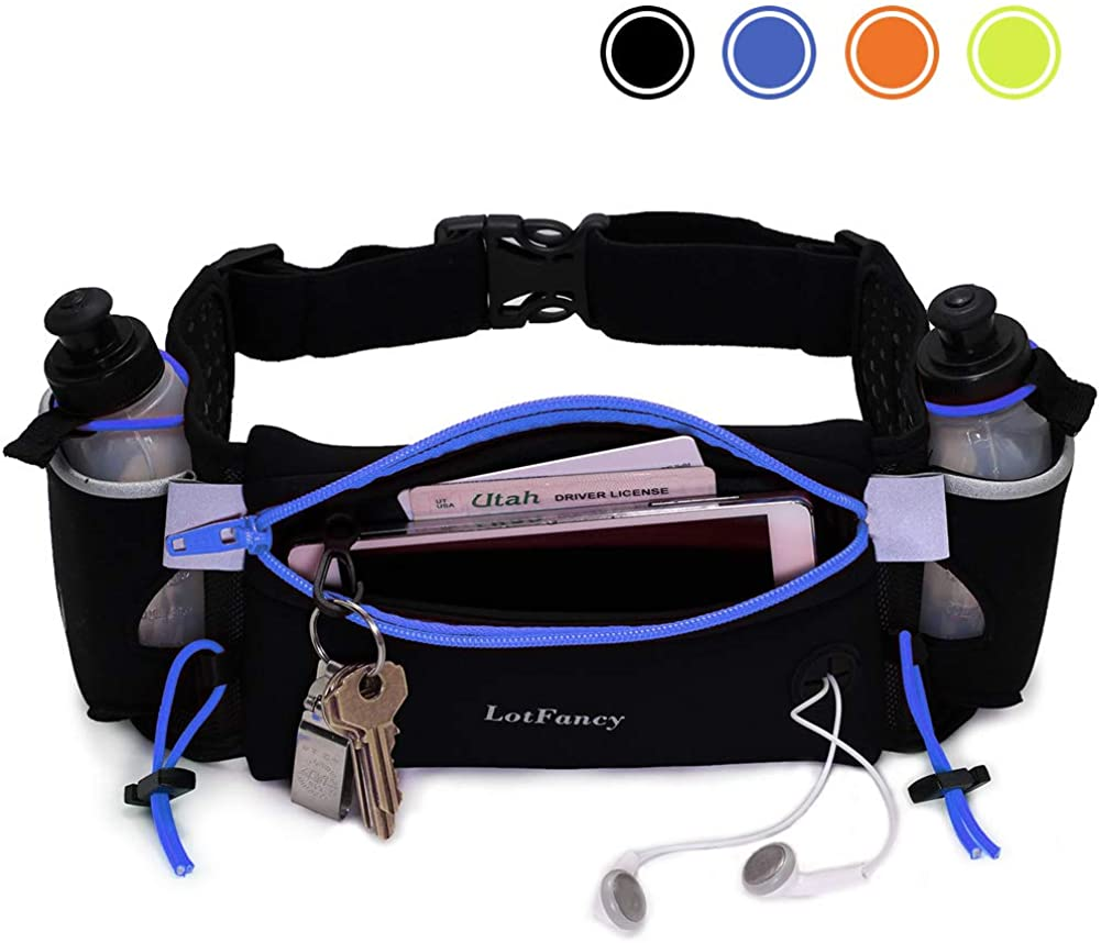 LotFancy Running Belt with 2 Water Bottle (BPA Free), Waist Pack Runners Belt for Women Men, Comfortable and Breathable, Fuel Belt for Marathon, Jogging, Cycling, Climbing, Fit 6.5 inches Smartphones