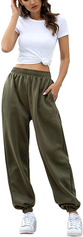 KAKALOT Women's High Waisted Active Workout Jogger Pants Lounge Sweat Pants with Pockets