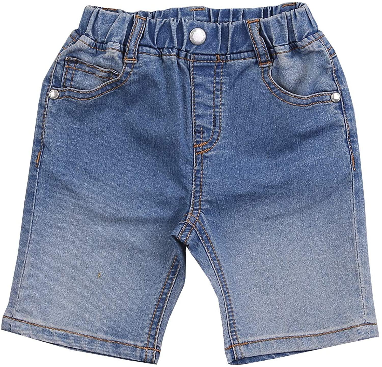 TOTO HEROS Boys Gradation Knee-Length Capri Pants Casual Elastic Waist Faded Jeans