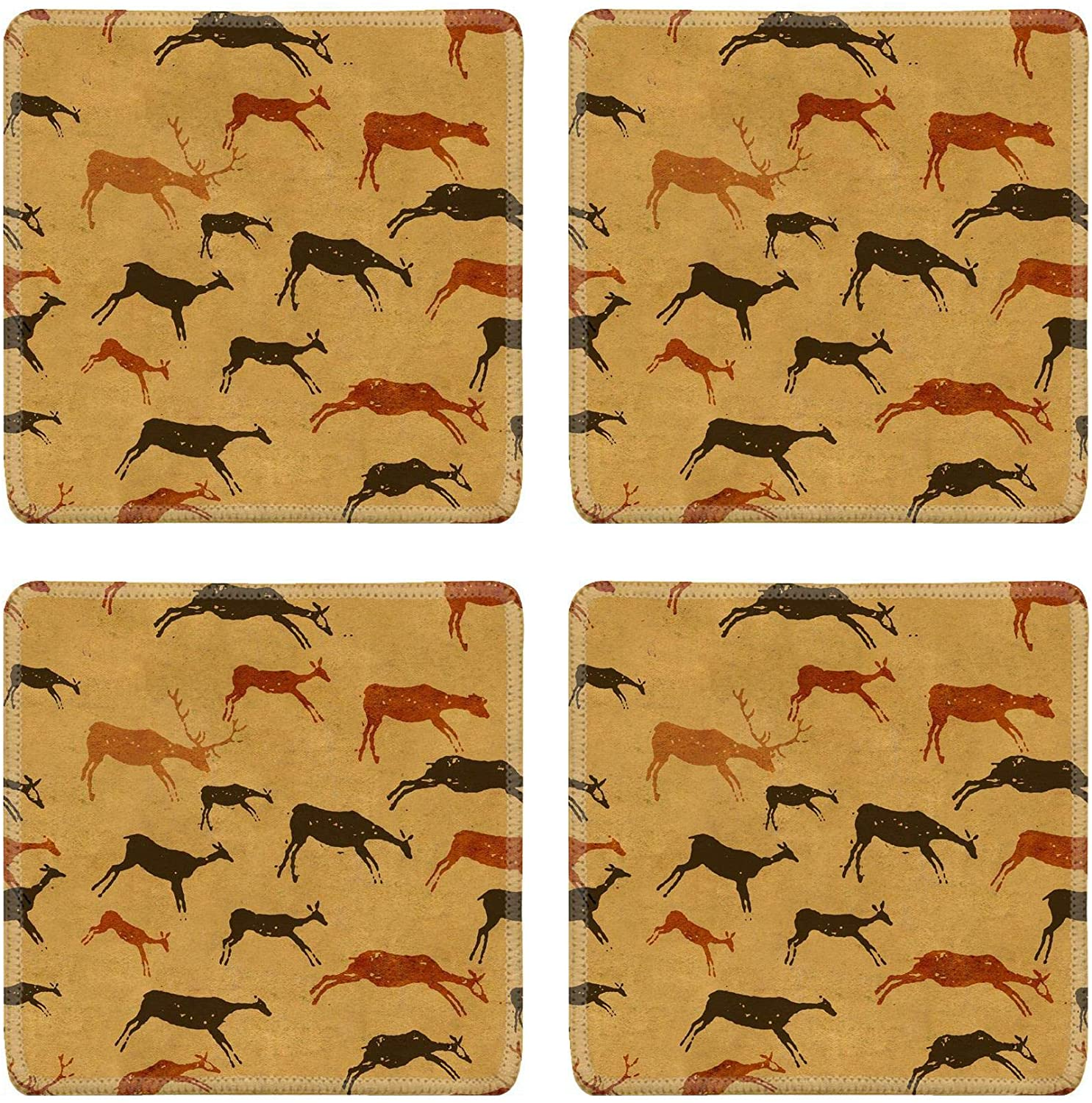MSD Drink Coasters 4 Piece Set Image ID: 4311678 Background with drawings of the primitive person