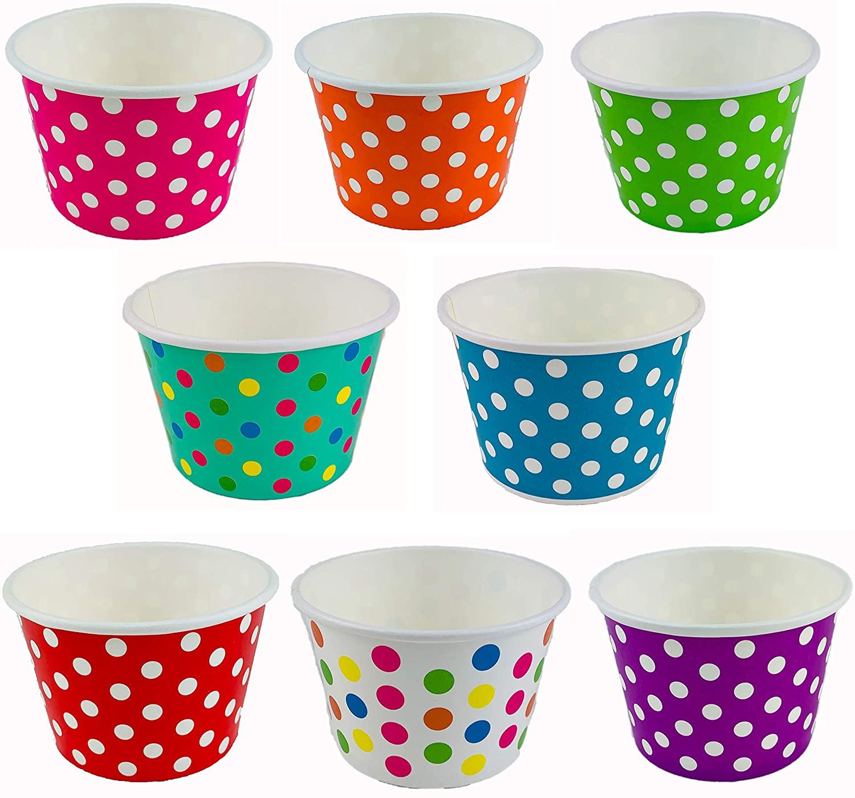 Worlds Paper Ice Cream Cups Polka Dot Paper Yogurt Cups 8oz Mix 50 pack