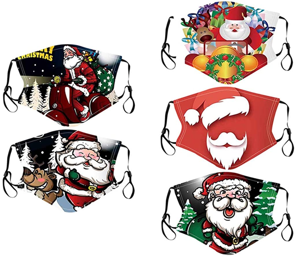 ATRISE 5PC Adult Christmas Face Cover Washable Proof,Face Mouth Cover Outdoor Unisex Man Women for dust Sun Wind Cycling