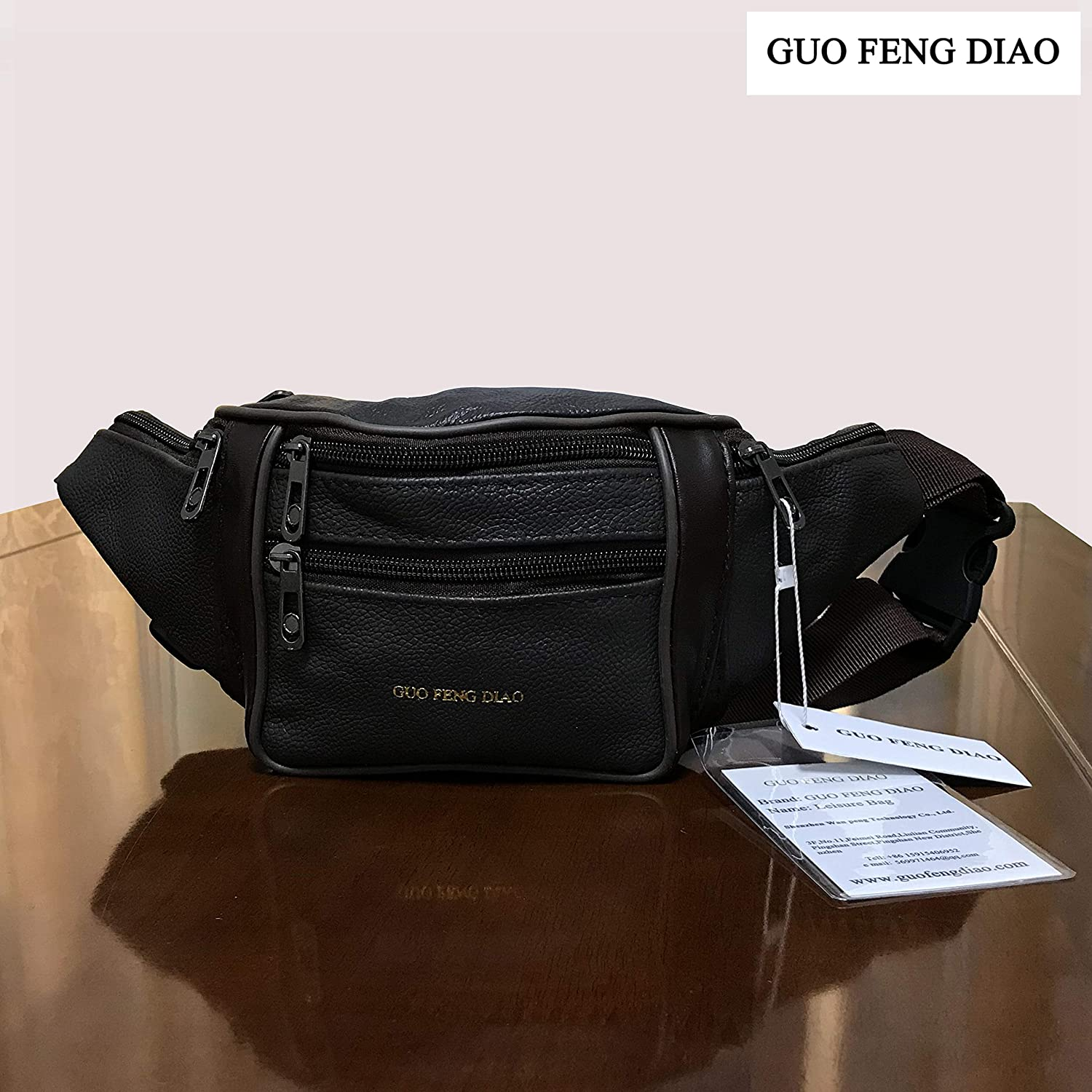 szwpalenHK GUO FENG DIAO Fanny Pack Unisex Belt Bag Waist Bag Outdoors & Gym Hiking Cycling Tool Kit Multifunction Genuine Leather Pouch for Motorcycle Bike