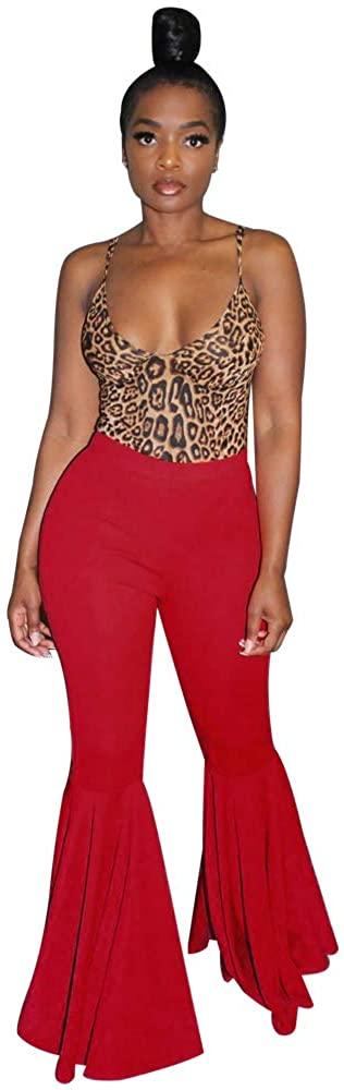 Adogirl Women Ruffle Flare Bottom Pants Mermaid Wide Leg Bell Bottoms Plus Size Trousers Clubwear