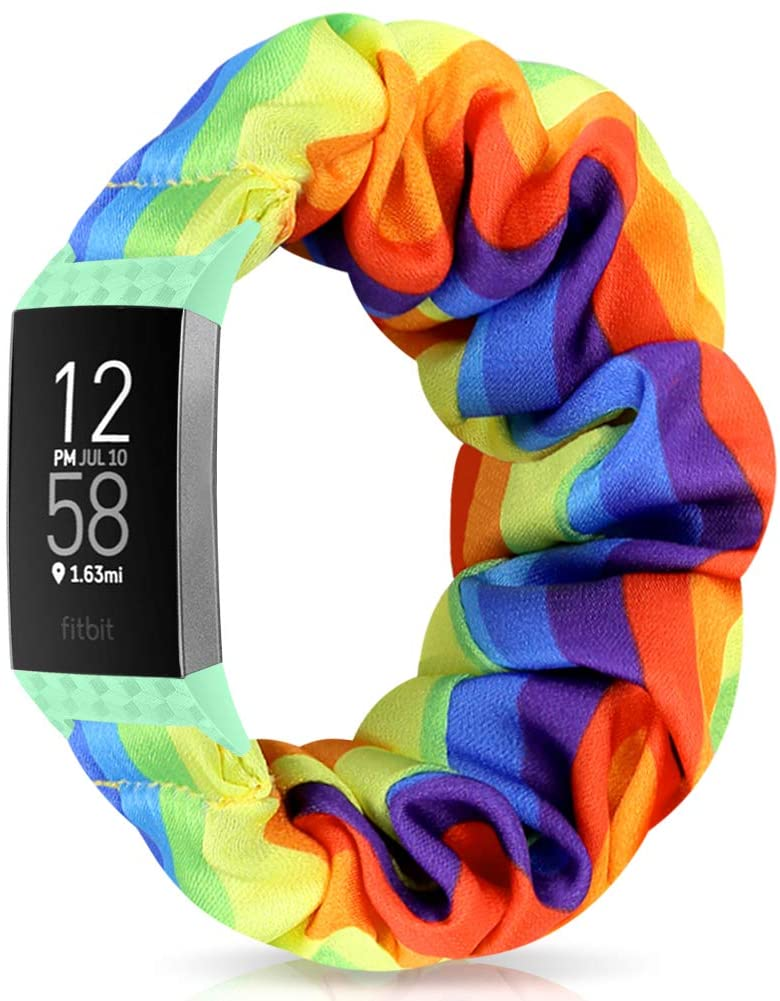 Relting Compatible with Fitbit Charge 4/Charge 3 Watch Band, Soft Scrunchie Elastic Cloth Fabric Replacement Wristband for Fitbit Charge 3 SE for Women Girls (Large, Color-N)