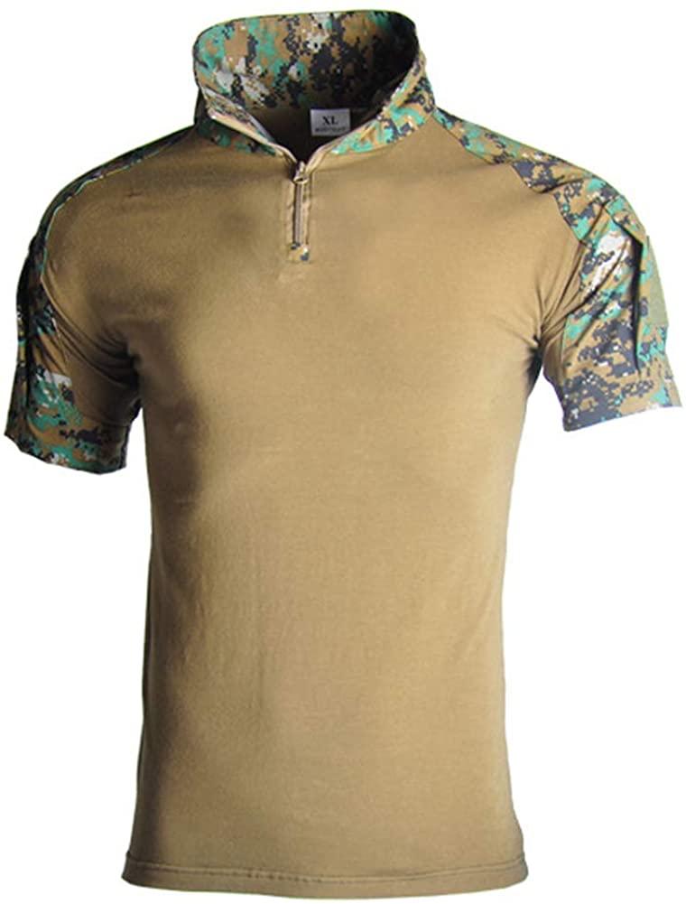 Lilychan Men's Tactical Short Sleeve Shirts Military Shirt Outdoor Shirt Tactical Combat Shirt with Zipper