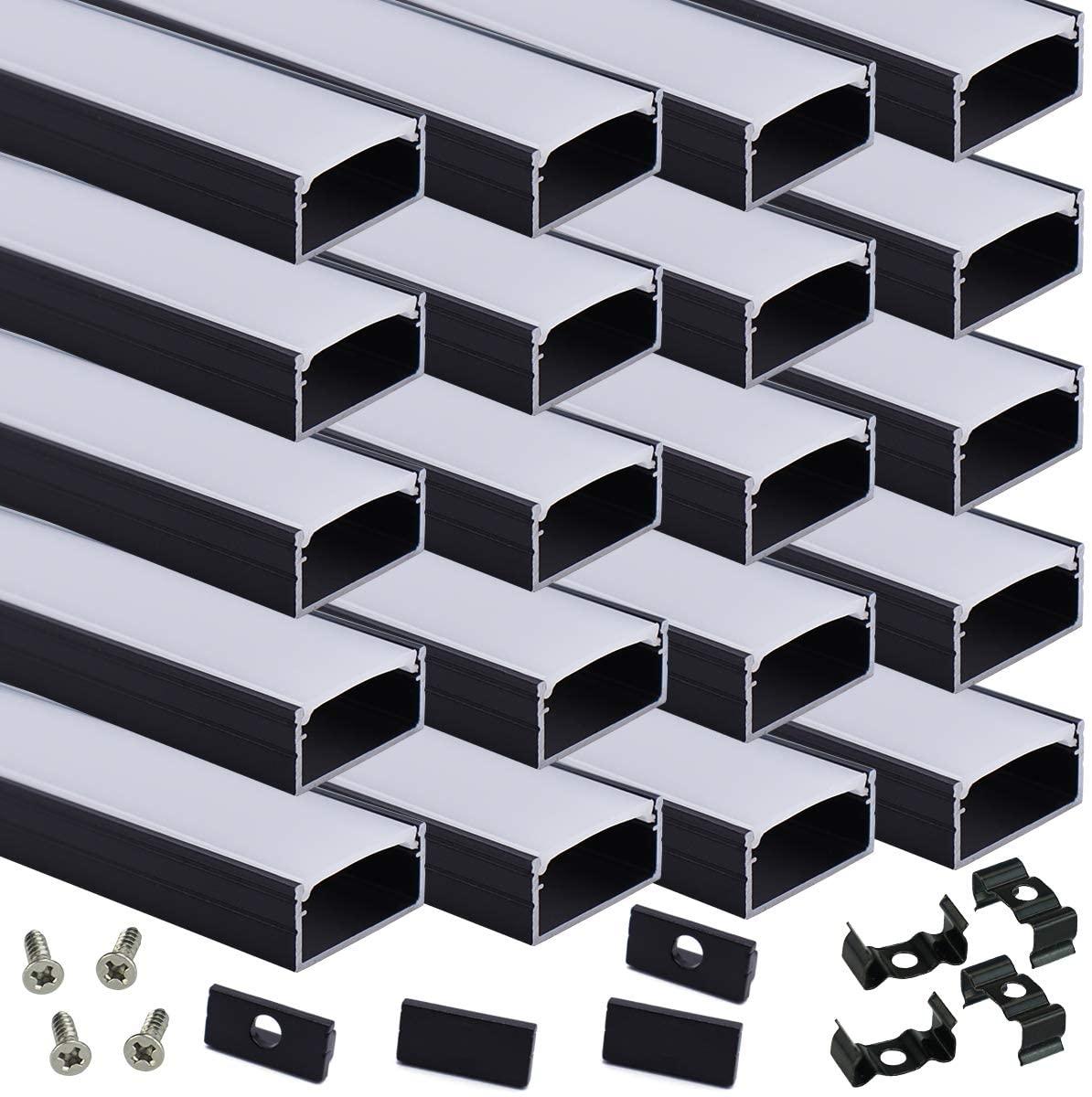Muzata 2M Black LED Channel System with Milky White Cover,16mm Super Wide Aluminum Extrusion Profile Track Diffuser for Tape Strip Light Philips Hue Plus.U Shape,20Pack 6.6Ft U102 BW 2M, LU2 LP1 L2M