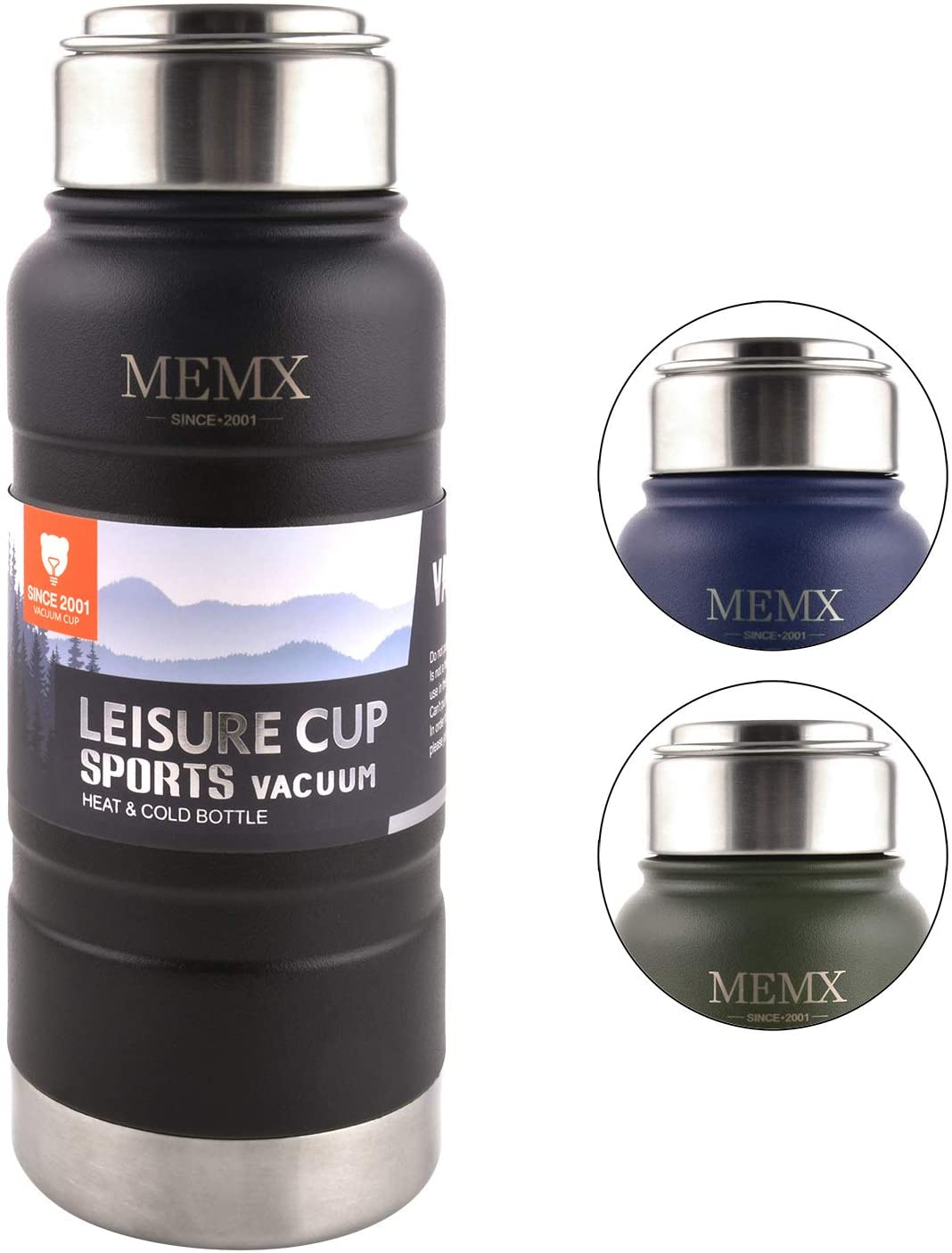 MEMX Stainless Steel Vacuum Insulated Water Bottle, 17 Ounce Sports Thermos Flask, Built-in Filter Thermo Mug, Keeps Hot or Cold with Double Wall Insulated Sweat Proof Design.