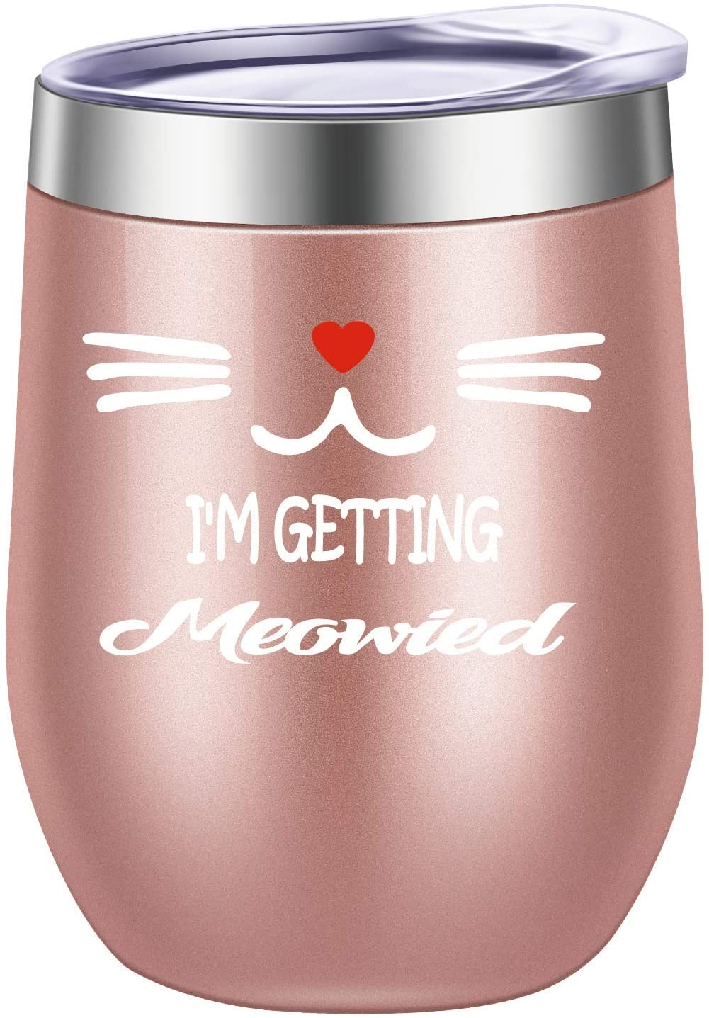 Pufuny Im Getting Meowied Funny Wine Glass,Unique Wedding Gift Idea for Fiancee,Bride,Bridal Shower Gifts,Engagement Party,Christmas Gifts for Women 12 oz Rose Gold