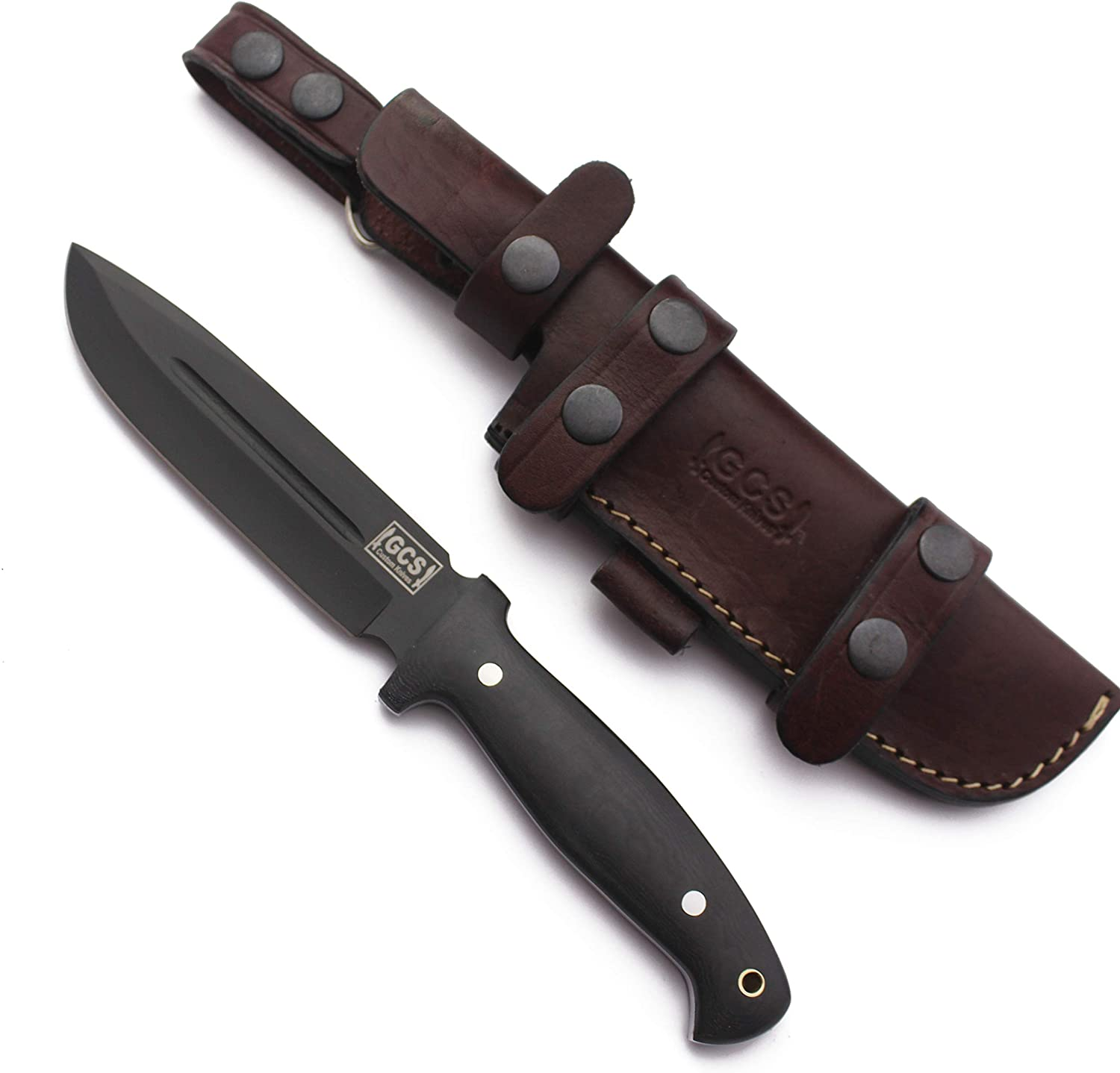 GCS Handmade D2 Tool Steel Survival Tactical Hunting Camping Fixed Blade Knife Black Micarta Handle with Brown Leather Right or Left Hand Horizontal Fixed Blade Knife Sheath GCS244