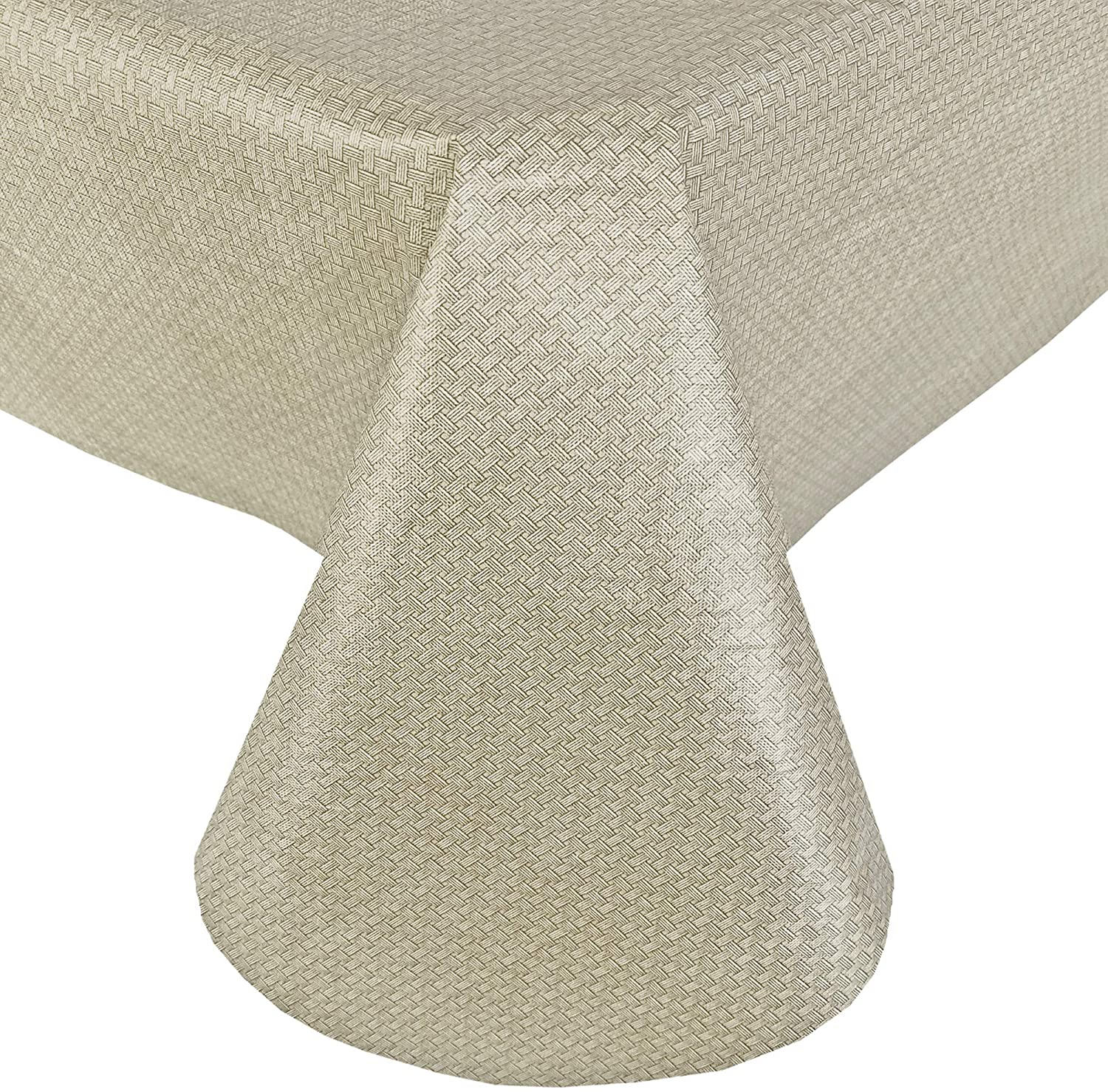 Newbridge Basketweave Solid Color Vinyl Flannel Backed Tablecloth, Basket Weave Textured Look Indoor/Outdoor Waterproof Tablecloth, Patio Kitchen Dining, 60 Inch x 120 Inch Oblong/Rectangle, Natural