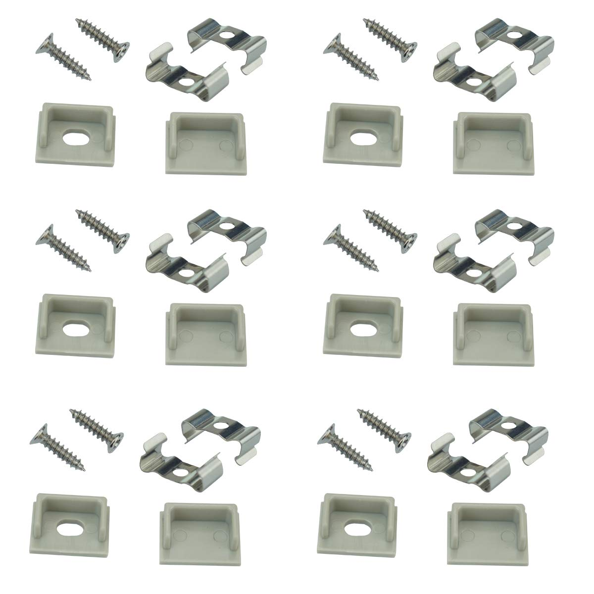 Muzata LED Channel Mounting Clips and End Caps Suit for Muzata U102 and 189MM U Shape Aluminum Channel in The Market,12-Pack LC18 WW