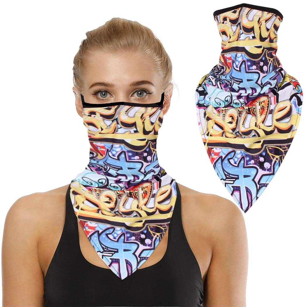 Sethexy Sport Neck Gaiter Seamless Outdoor Balaclavas Elastic Face Scarves Running Hiking Cycling Festival Bandana for Women or Men (Graffiti-art)