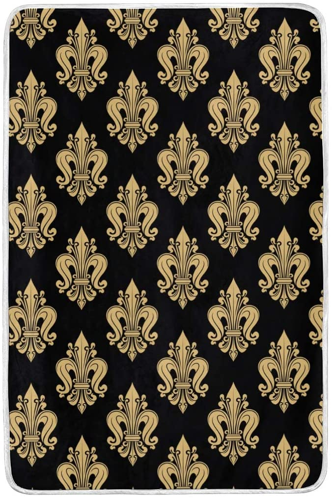 ALAZA Blanket French Heraldic Fleur De Lis Pattern Twin Size Blankets Lightweight Extra Soft Warm for Sofa Office Home Bedding,60x90 Inches