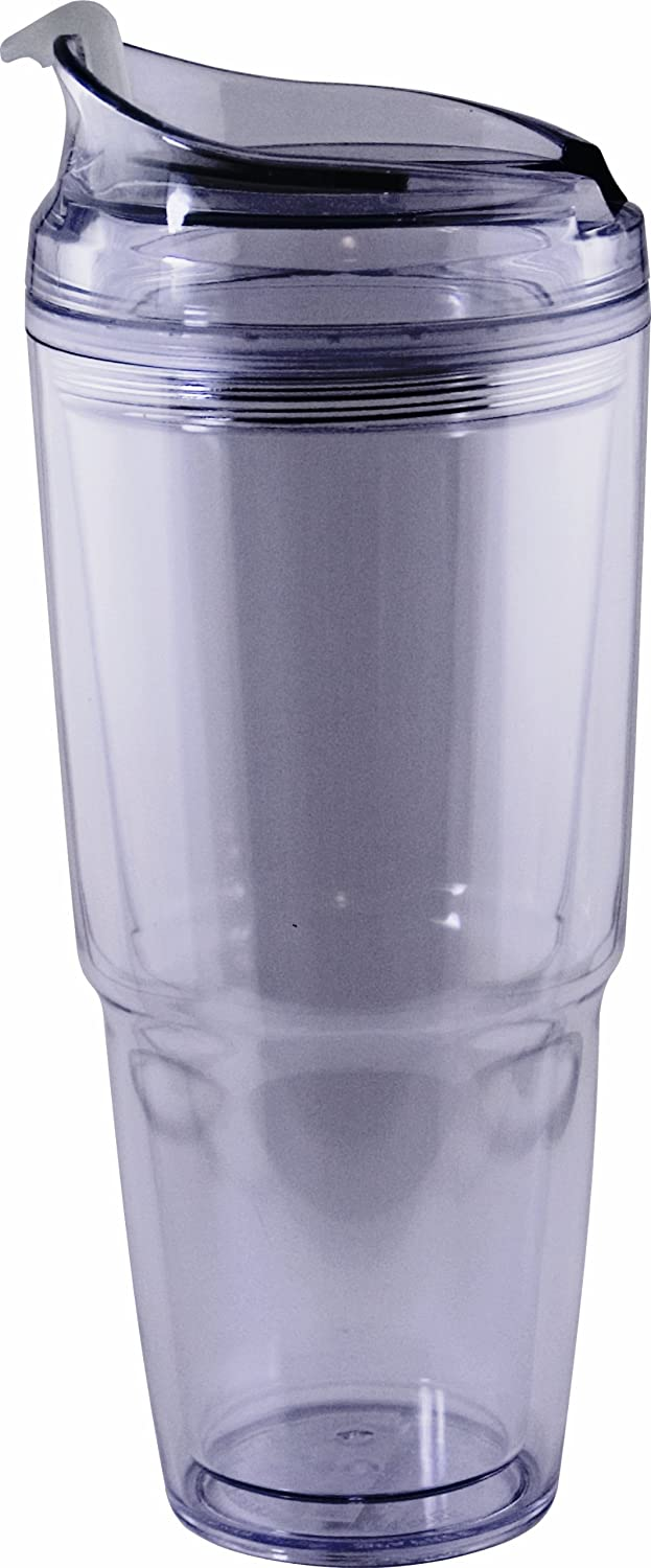 Eco-Friendly Double Wall 22oz Hot or Cold Drink Travel Dual Tumbler with Matching Straw (Clear)