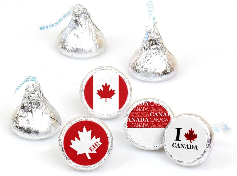 Canada Day - Canadian Party Round Candy Sticker Favors - Labels Fit Hershey's Kisses (1 Sheet of 108)